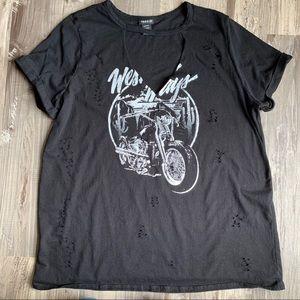 Torrid 3X Black Moto Graphic Cutout Tee T-shirt